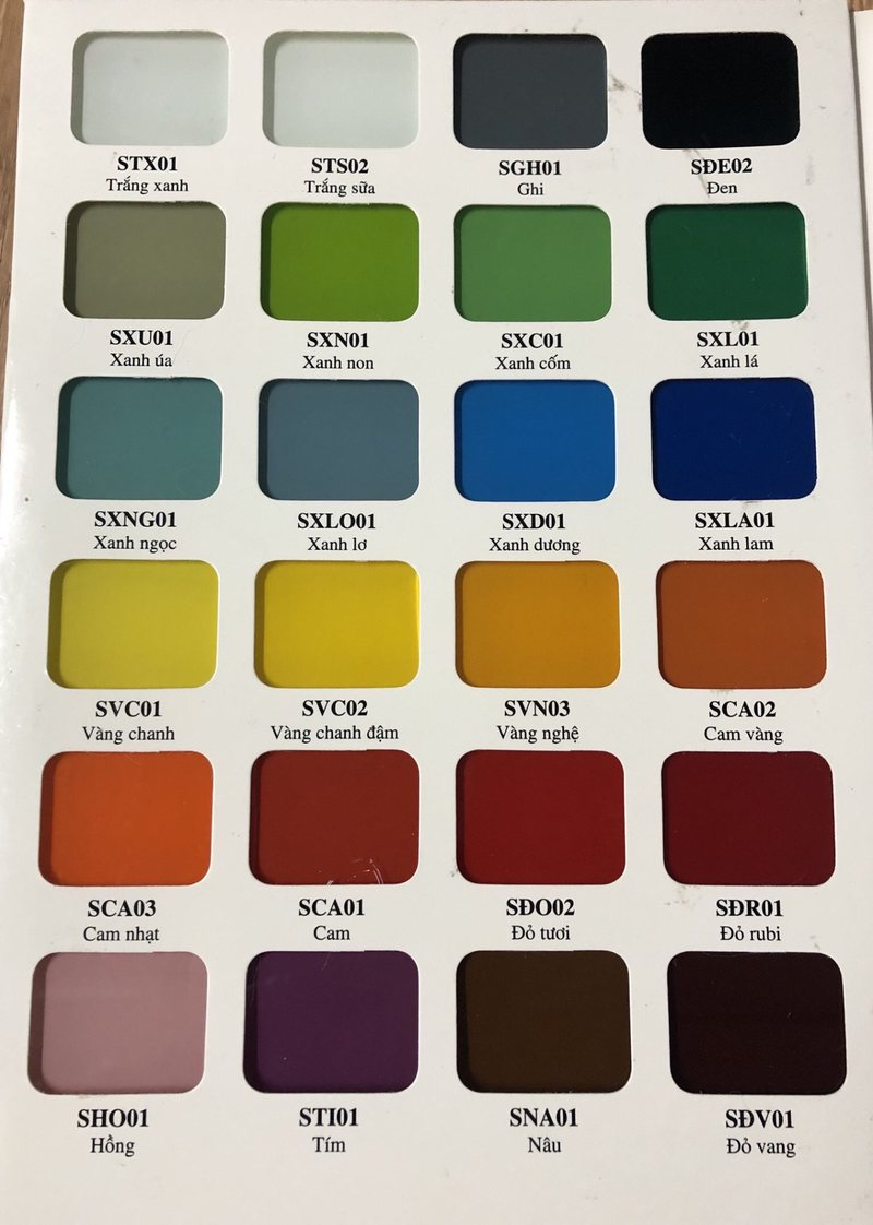 Bảng Màu Kính ốp bếp (Bìa 1)