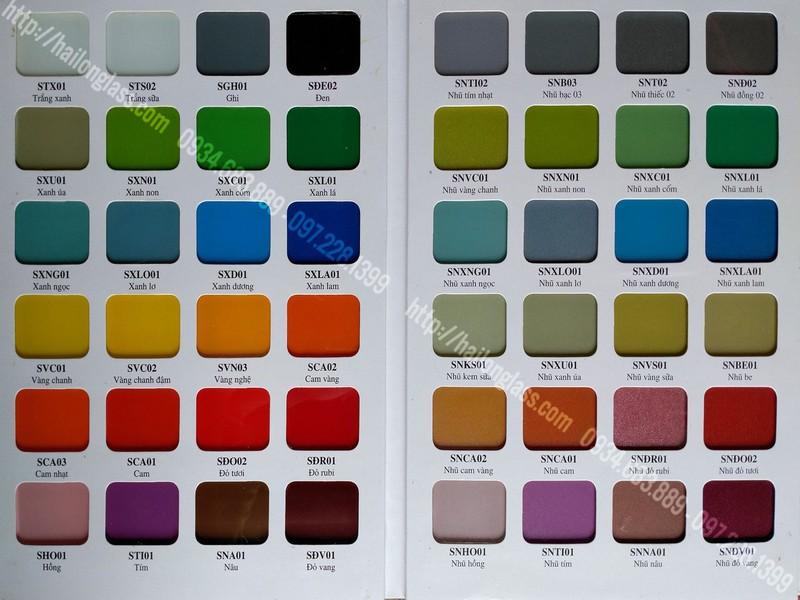 Bảng màu kính sơn chuẩn nhà máy VSG - HAILONG (Temper Color) - Bìa 1