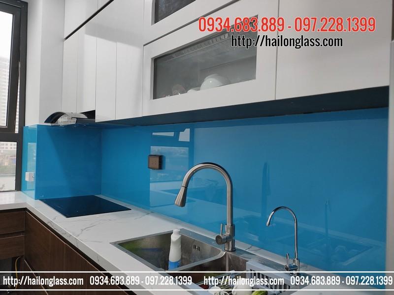 Lắp đặt kính ốp bếp màu xanh dương TGC tại N05 - Chung cư Ecohome 3 Đông Ngạc