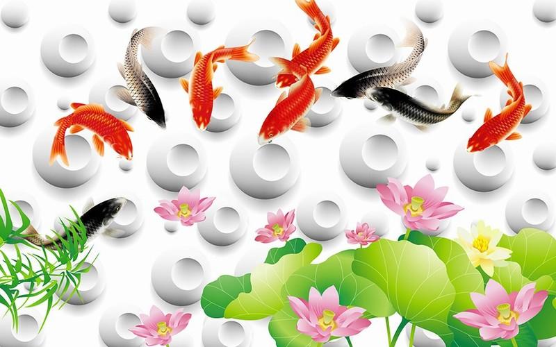 Tranh kính hình hoa sen cá chép 2