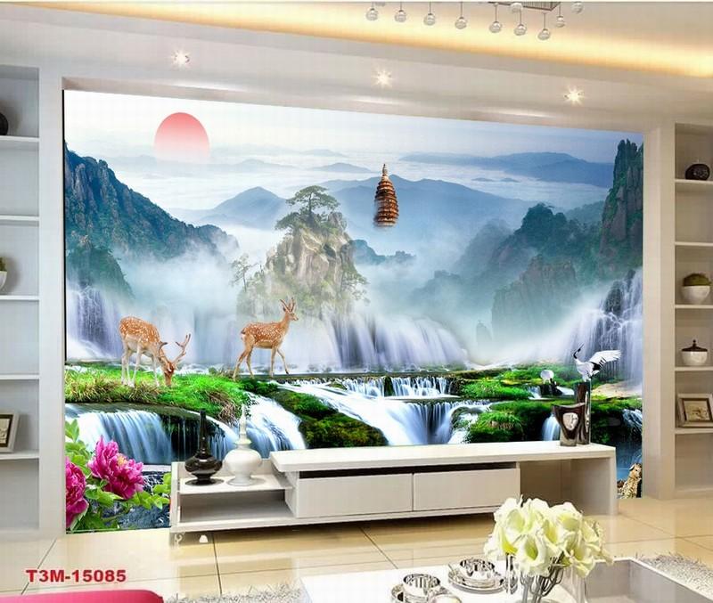 Tranh Kính 3D phòng khách in phong cảnh