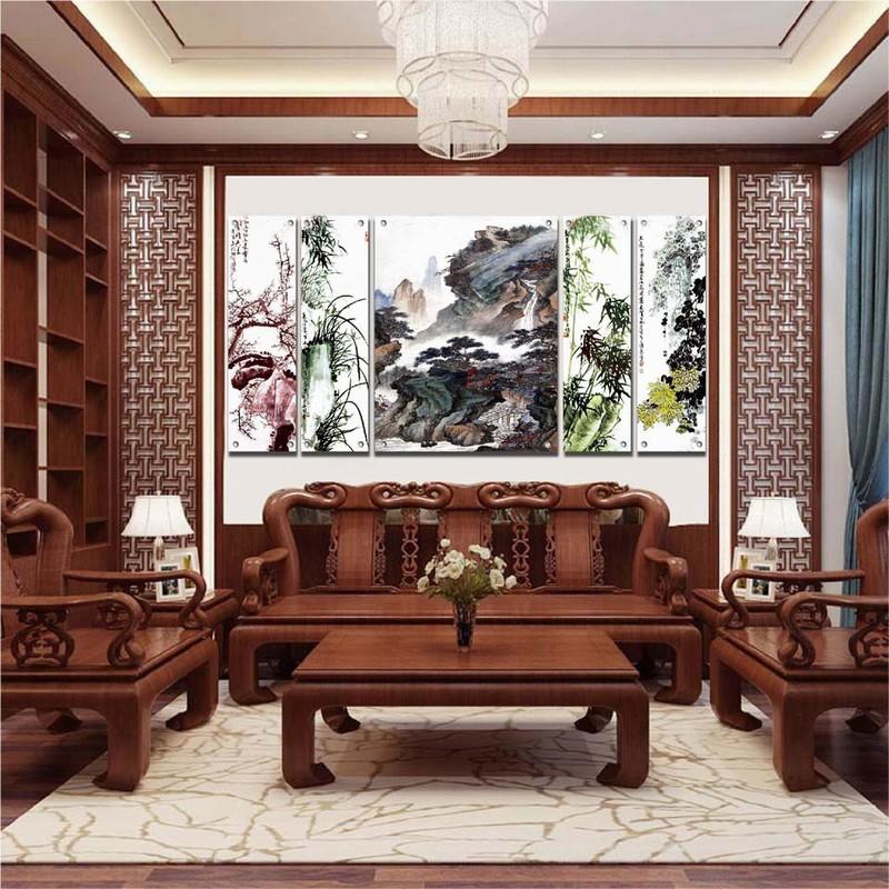 Tranh kính 3D ghép 5 tấm phòng khách
