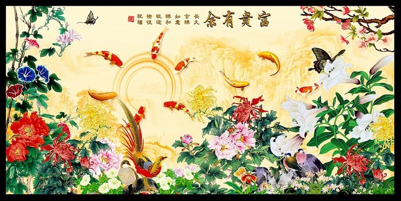 Tranh kính hình chim muông cỏ cây hoa lá