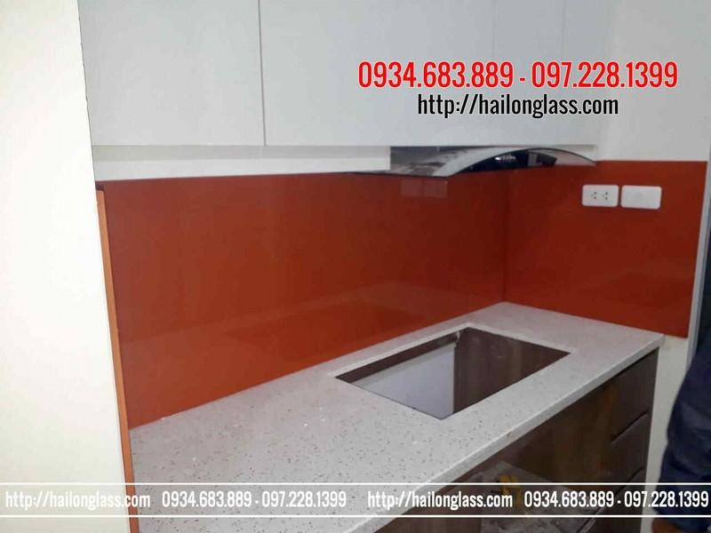 Kính ốp bếp giá rẻ Hà Nội - Kính ốp bếp màu cam đỏ