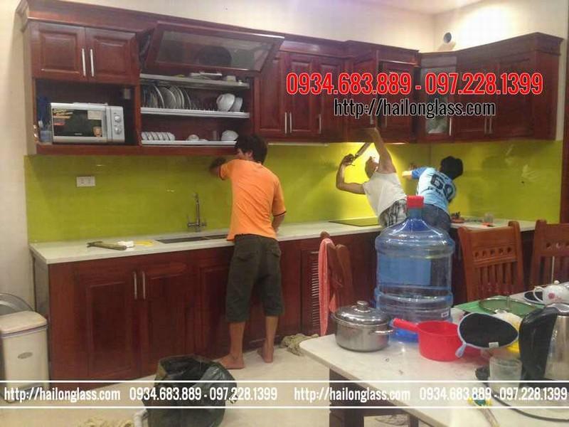 Kính Bếp Vàng Chanh lắp đặt tại TT10 KĐT Văn Phú - Hà Đông - Hà Nội