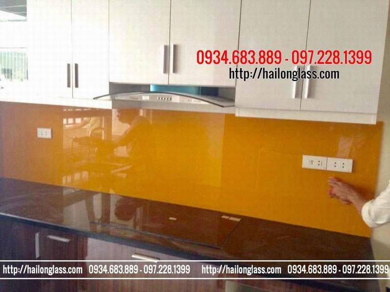 Lắp đặt Kính ốp bếp Màu Vàng Thư - Kính Ốp Tường Tủ Bếp Màu Vàng Thư lắp đặt tại Thụy Khuê - Tây Hồ - Hà Nội