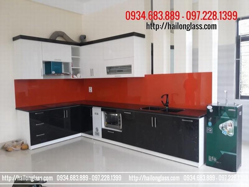 Kính màu Hà Nội - Kính ốp bếp màu đỏ kim sa