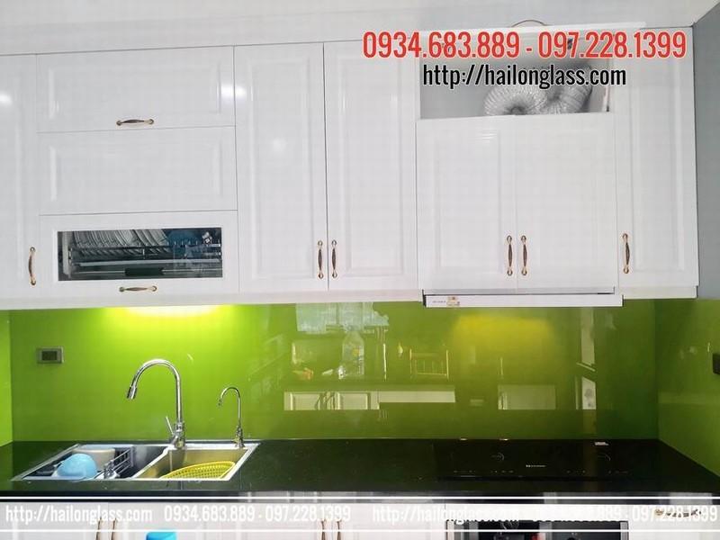 Kính Hải Long tại Hà Nội - Kính ốp bếp màu xanh non